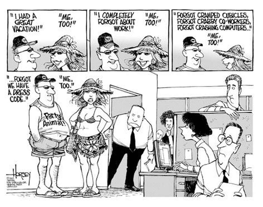 Back from vacation... - Originally published on August 9, 2005 Photo: David Horsey, Seattlepi.com