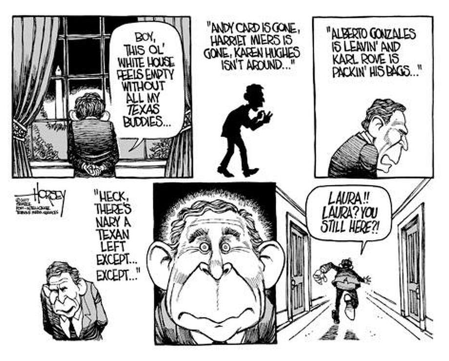 Bush's Lone Star loneliness - Originally published on September 3, 2007 Photo: David Horsey, Seattlepi.com