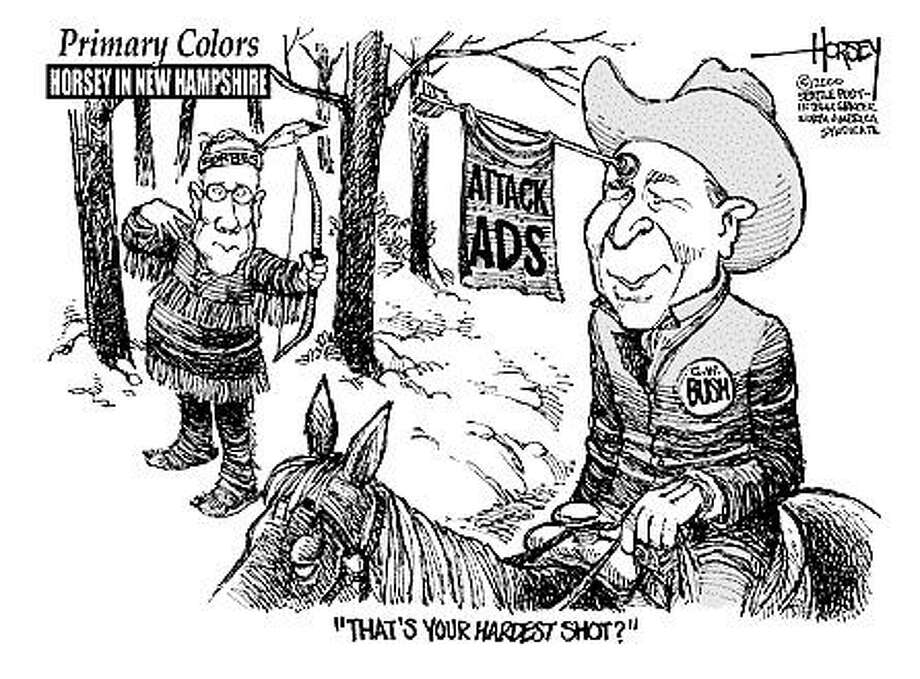 Primary Colors: Hardest Shot - Originally published on February 1, 2000 Photo: David Horsey, Seattlepi.com