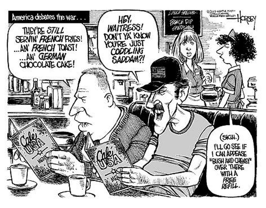 America debates the war - Originally published on March 2, 2003 Photo: David Horsey, Seattlepi.com