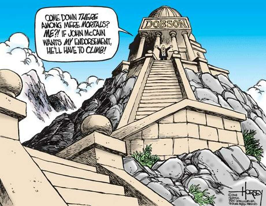 Dobson won't come down, McCain will have to climb - Originally published on July 1, 2008 Photo: David Horsey, Seattlepi.com
