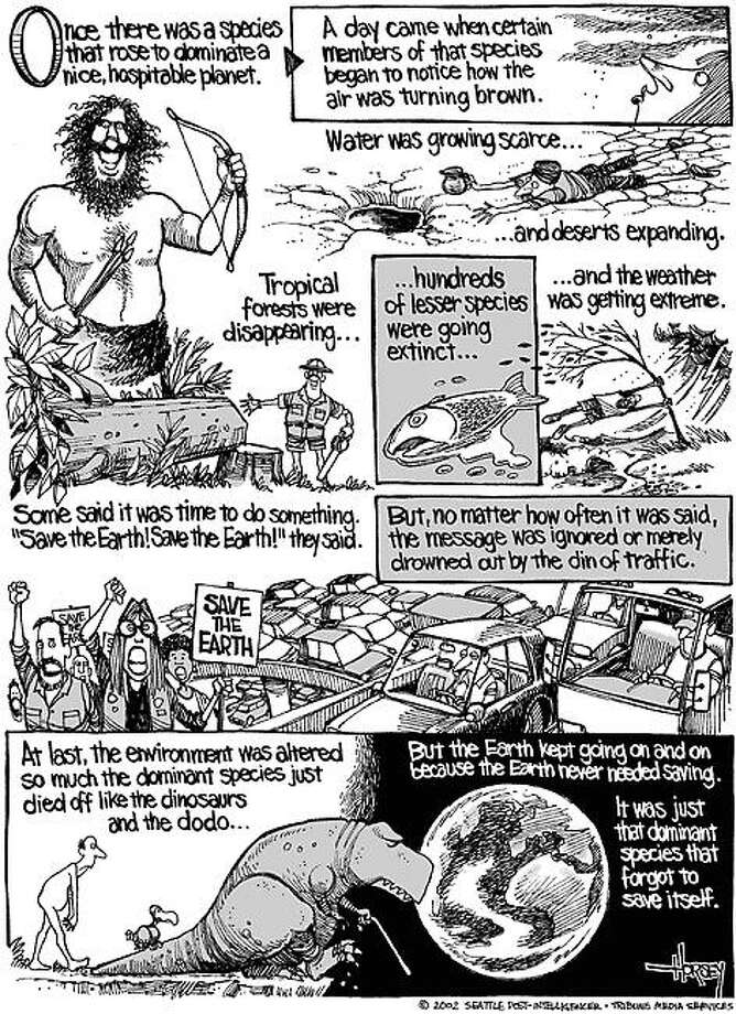 History on the fate of the Earth - Originally published on September 1, 2002 Photo: David Horsey, Seattlepi.com