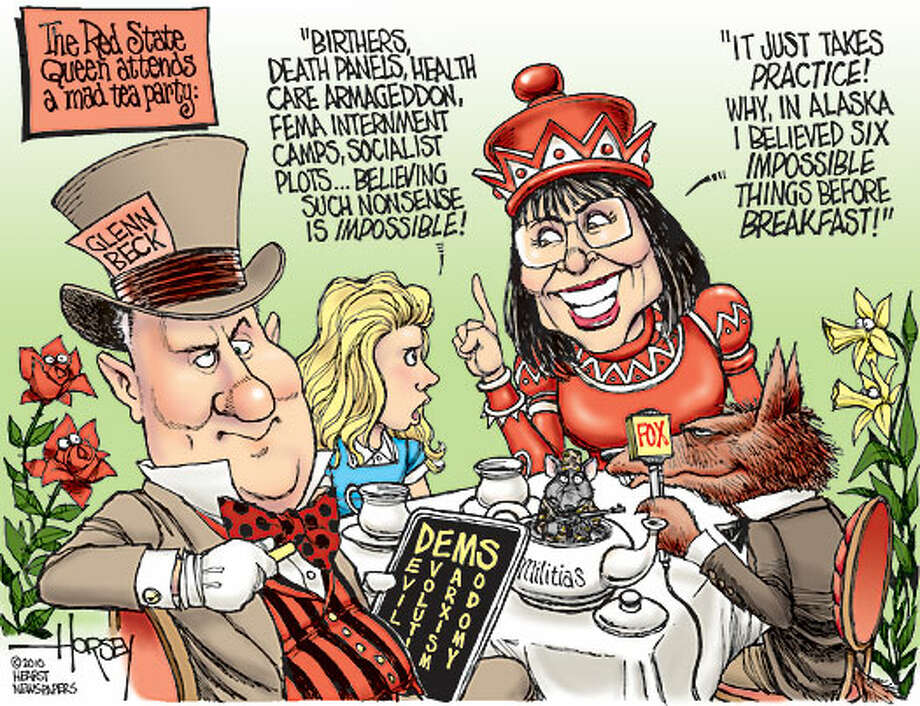 The Red State Queen attends a tea party - Originally published on April 1, 2010 Photo: David Horsey, Seattlepi.com
