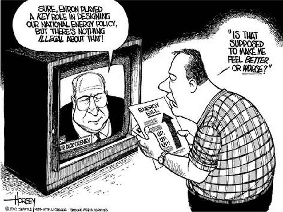 Cheney Tries to Reassure America - Originally published on February 1, 2002 Photo: David Horsey, Seattlepi.com