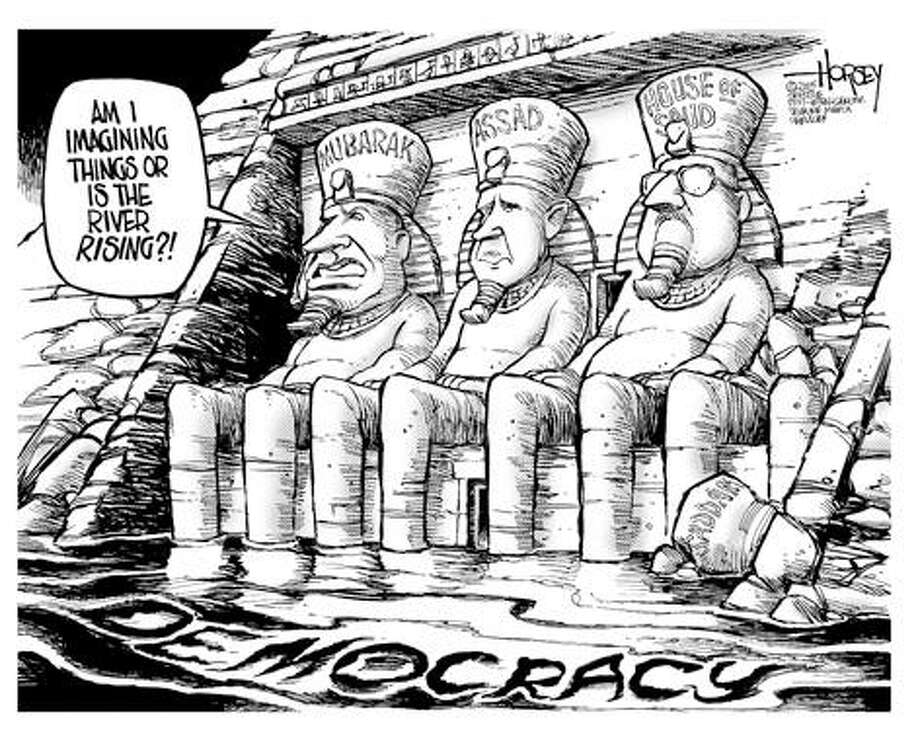 High tide for democracy in the Middle East... - Originally published on March 1, 2005 Photo: David Horsey, Seattlepi.com