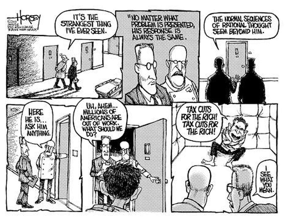 Bush's response is always the same... - Originally published on September 3, 2003 Photo: David Horsey, Seattlepi.com