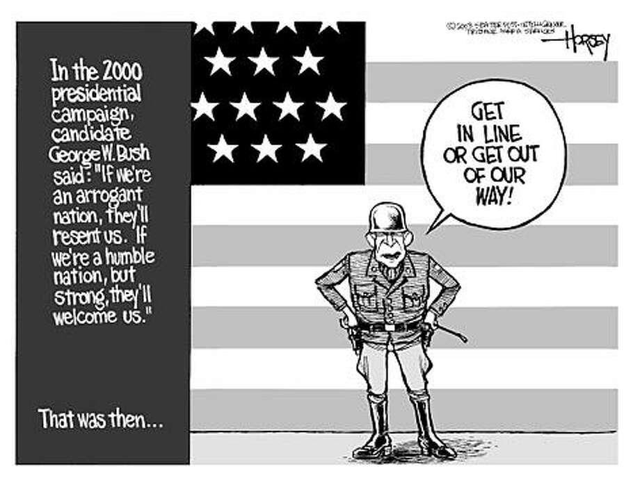 Bush's new stance on war - Originally published on February 2, 2003 Photo: David Horsey, Seattlepi.com