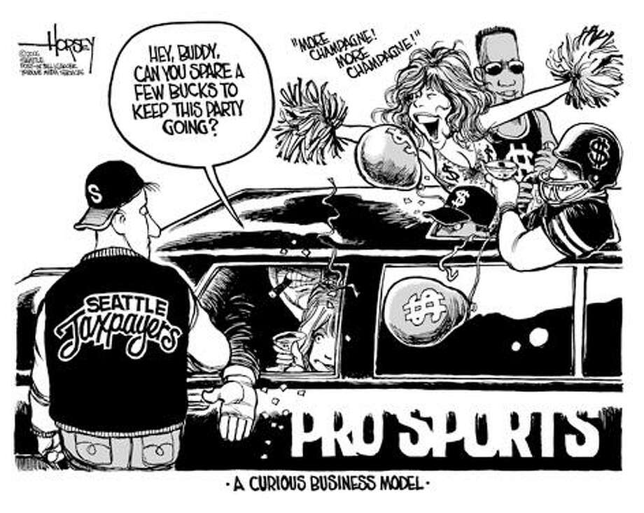 Another handout for pro sports? - Originally published on March 5, 2006 Photo: David Horsey, Seattlepi.com