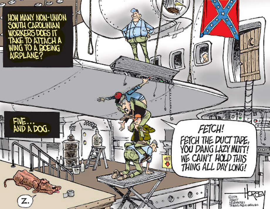 Building Boeing planes the South Carolina way - Originally published on November 2, 2009 Photo: David Horsey, Seattlepi.com