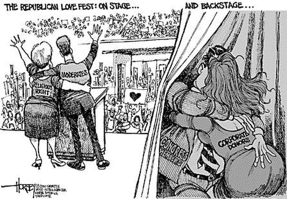 GOP Lovefest - Originally published on August 1, 2000 Photo: David Horsey, Seattlepi.com