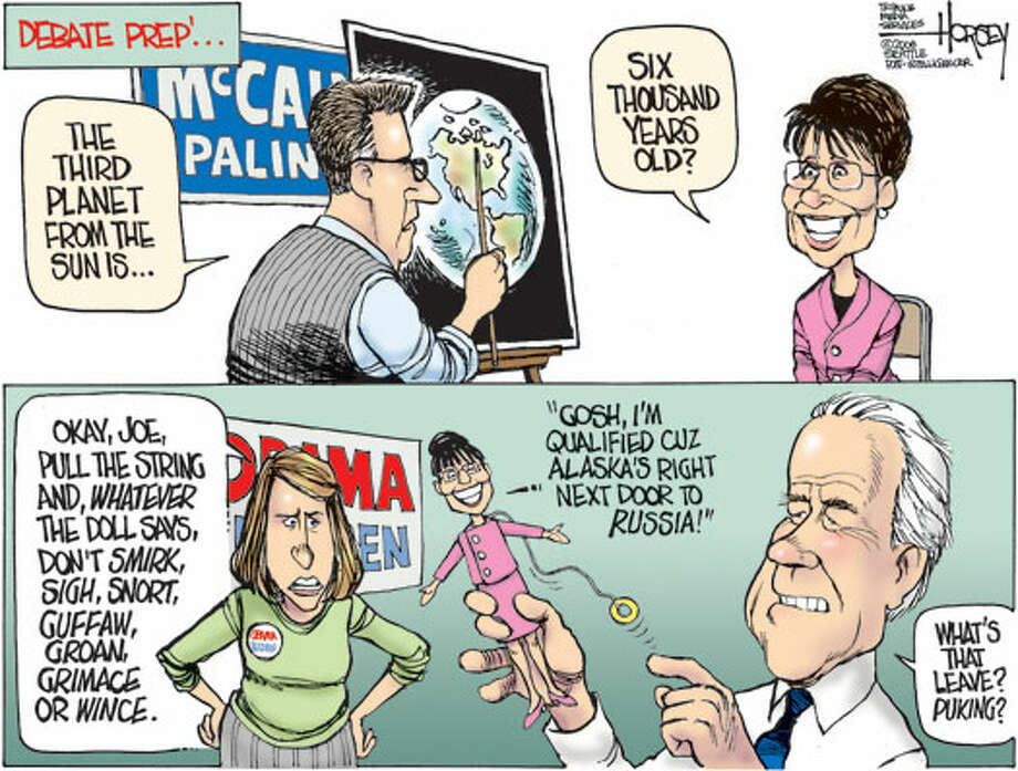 Prepping for the vice presidential debate - Originally published on October 1, 2008 Photo: David Horsey, Seattlepi.com
