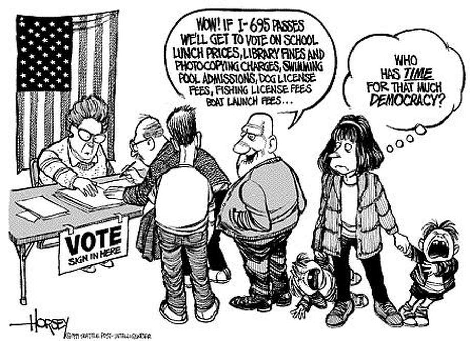 Too Much Democracy - Originally published on November 2, 1999 Photo: David Horsey, Seattlepi.com