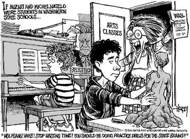 If Mozart and Michelangelo Were Washington Students Today - Originally published on April 21, 2000 Photo: David Horsey, Seattlepi.com