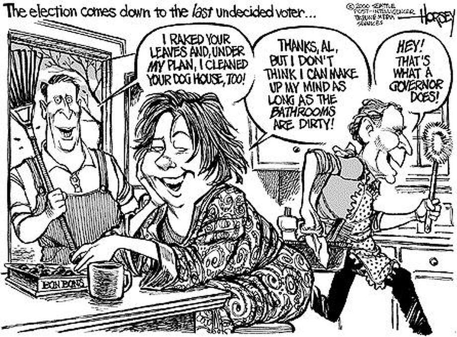 The election comes down to the last undecided voter... - Originally published on November 1, 2000 Photo: David Horsey, Seattlepi.com