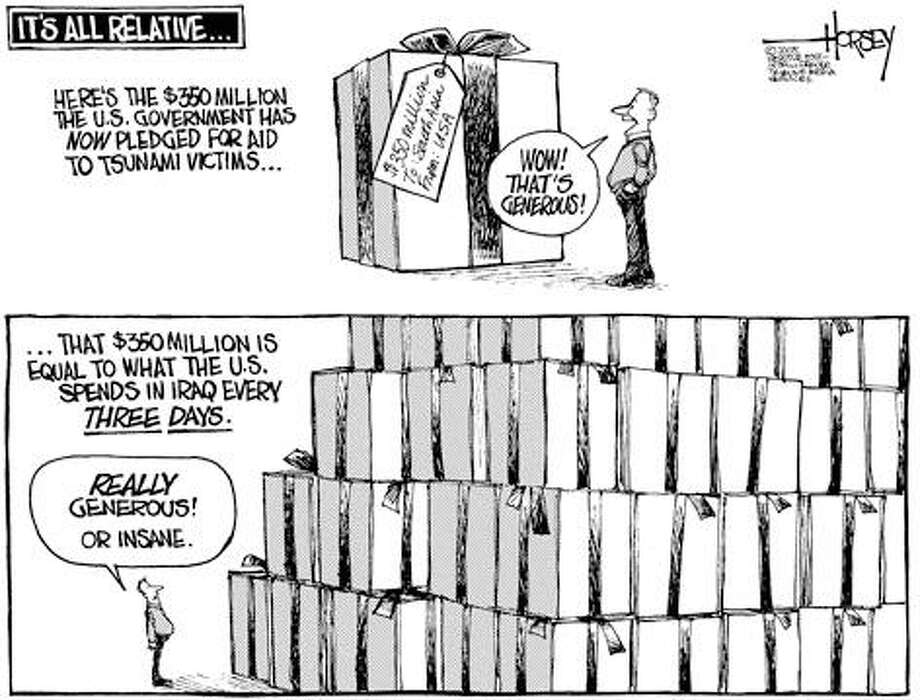 U.S. Generous With Aid to Tsunami Victims? It's All Relative ... - Originally published on January 2, 2005 Photo: David Horsey, Seattlepi.com