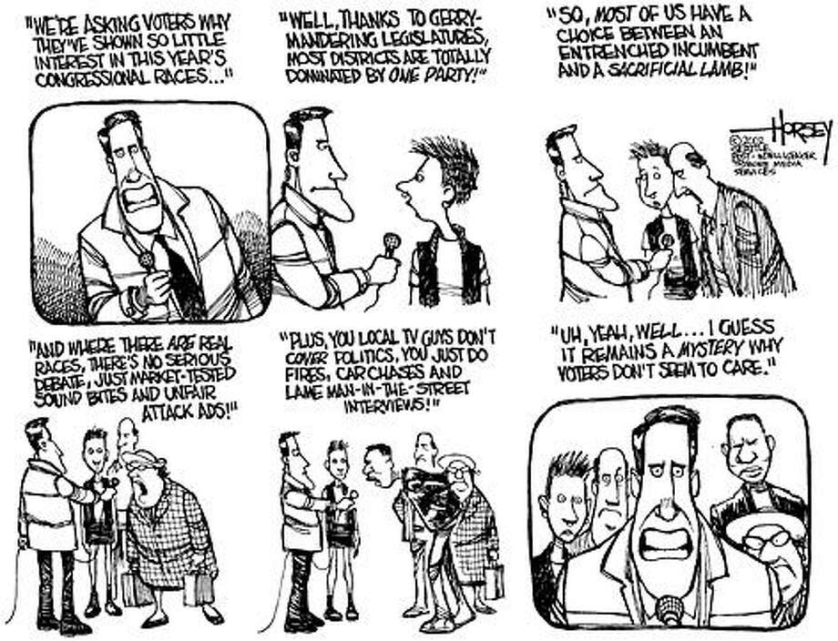 Why voters don't care about this year's congressional races - Originally published on November 3, 2002 Photo: David Horsey, Seattlepi.com