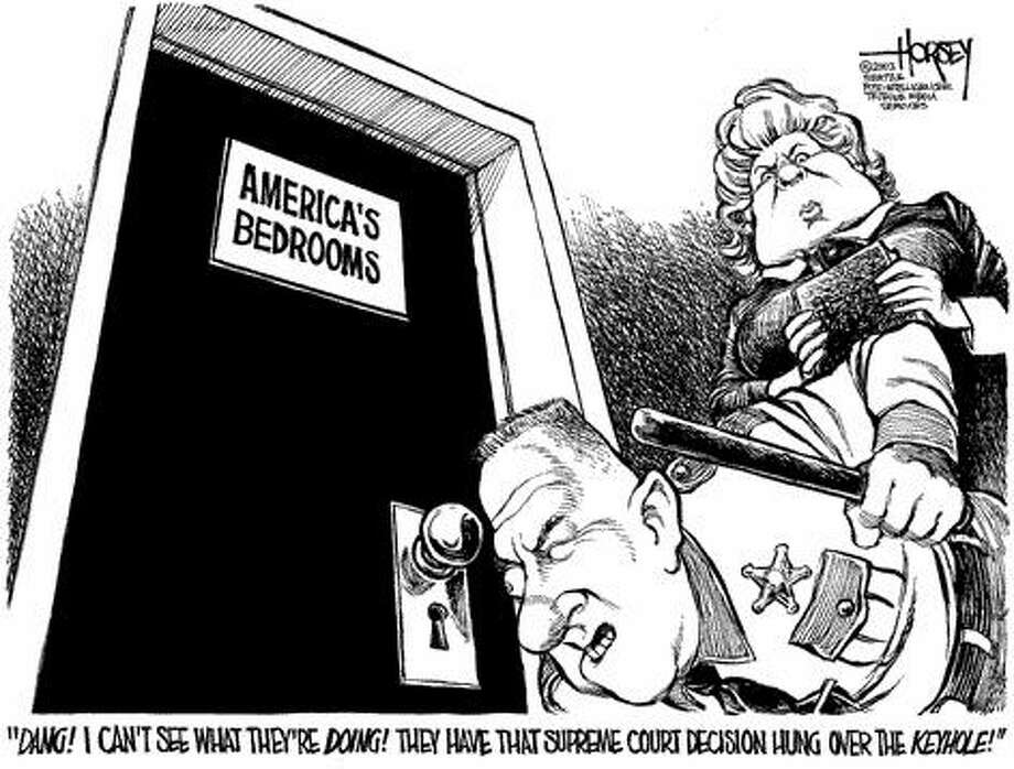 Safeguarding America's Bedrooms - Originally published on July 3, 2003 Photo: David Horsey, Seattlepi.com