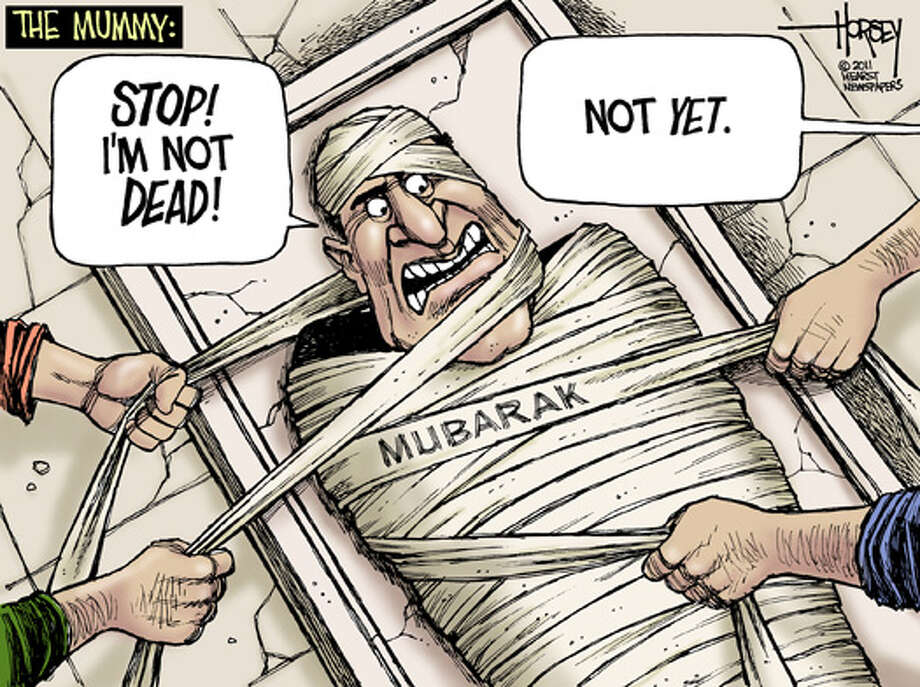Mubarak's future is all wrapped up - Originally published on February 1, 2011 Photo: David Horsey, Seattlepi.com