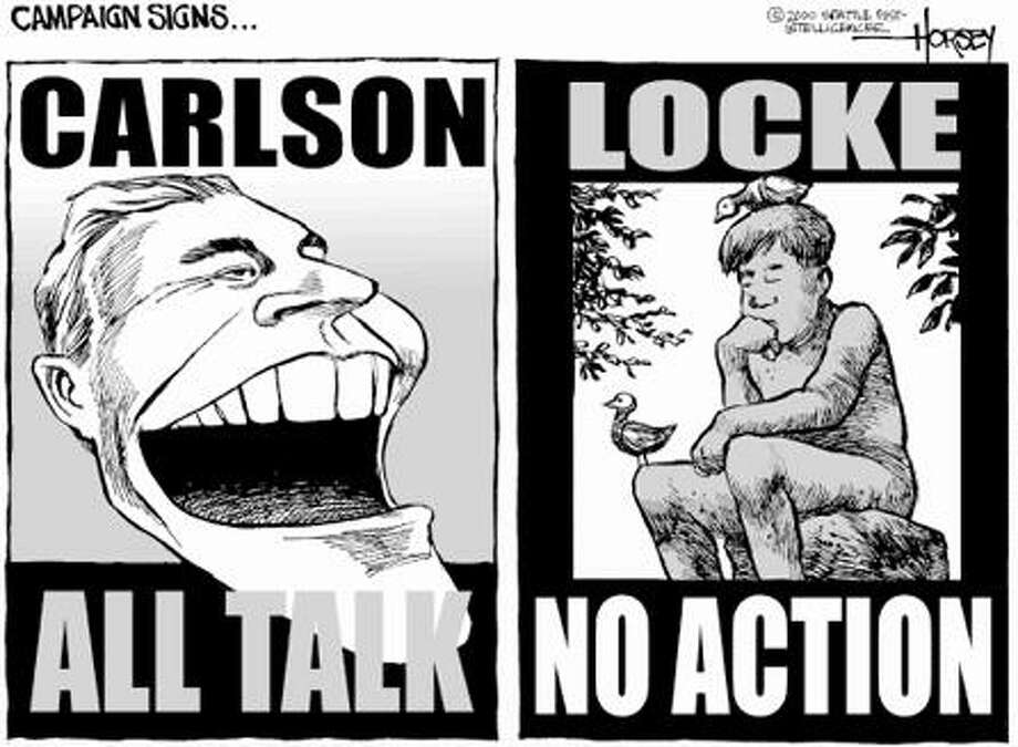Carlson vs. Locke Campaign Signs - Originally published on October 1, 2000 Photo: David Horsey, Seattlepi.com