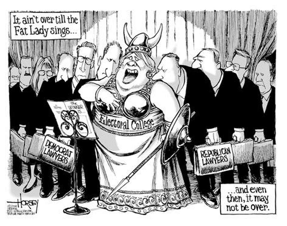 It ain't over till the fat lady sings... - Originally published on November 2, 2004 Photo: David Horsey, Seattlepi.com