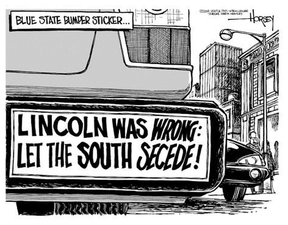 "A ""blue state"" bumper sticker ... - Originally published on November 9, 2004 Photo: David Horsey, Seattlepi.com"