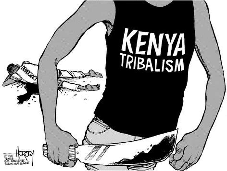 Democracy takes a blow in Kenya... - Originally published on January 4, 2008 Photo: David Horsey, Seattlepi.com