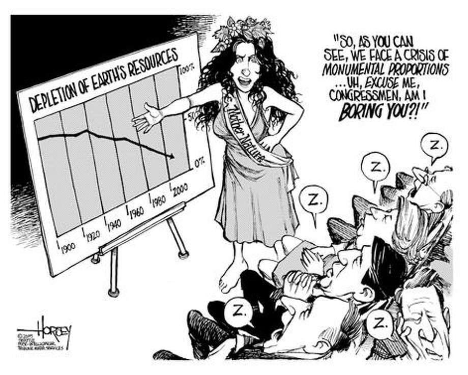 The depletion of Earth's resources... - Originally published on April 1, 2005 Photo: David Horsey, Seattlepi.com