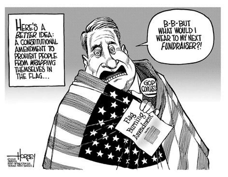 The flag burning amendment... - Originally published on July 1, 2005 Photo: David Horsey, Seattlepi.com