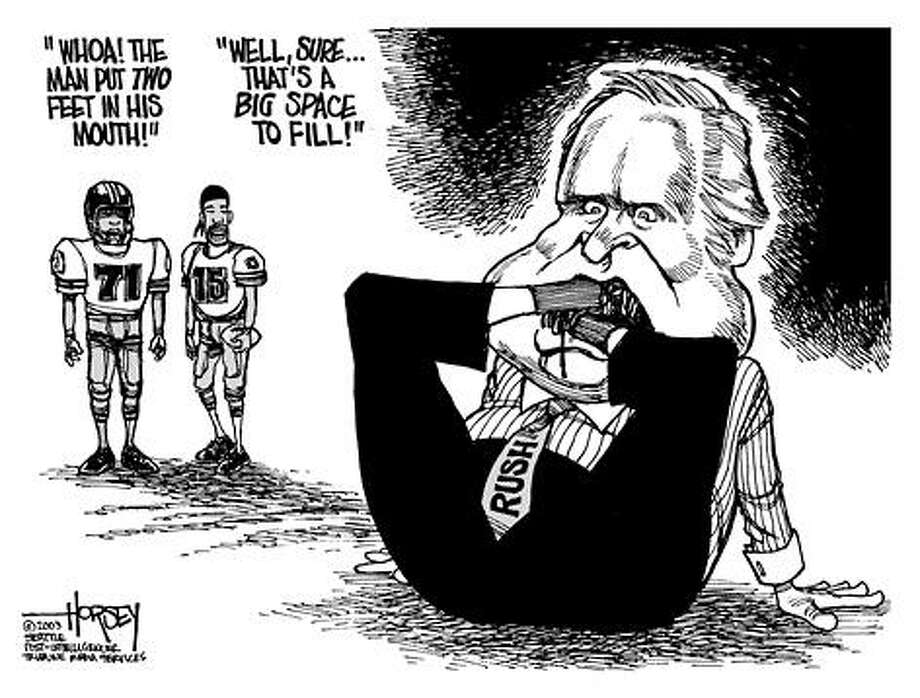 Rush Limbaugh's latest troubles... - Originally published on October 5, 2003 Photo: David Horsey, Seattlepi.com