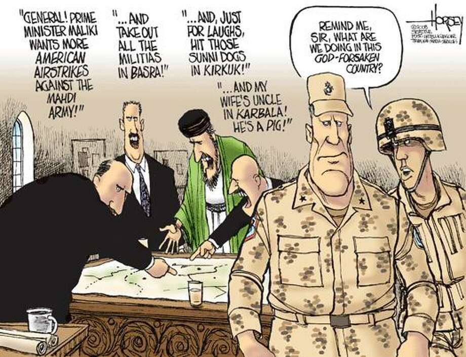 Taking orders from Iraqis - Originally published on April 1, 2008 Photo: David Horsey, Seattlepi.com