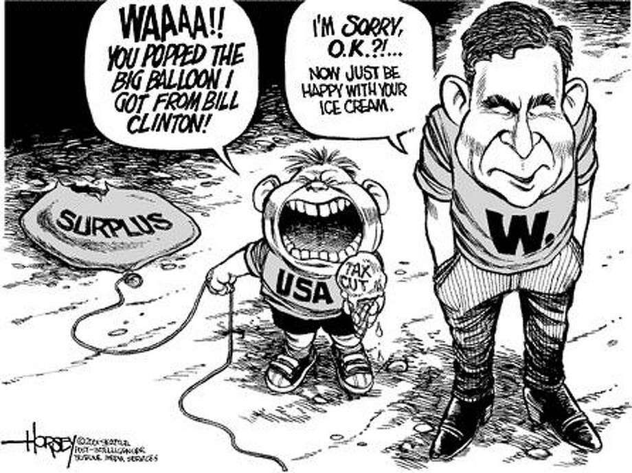 W. pops the balloon - Originally published on September 2, 2001 Photo: David Horsey, Seattlepi.com