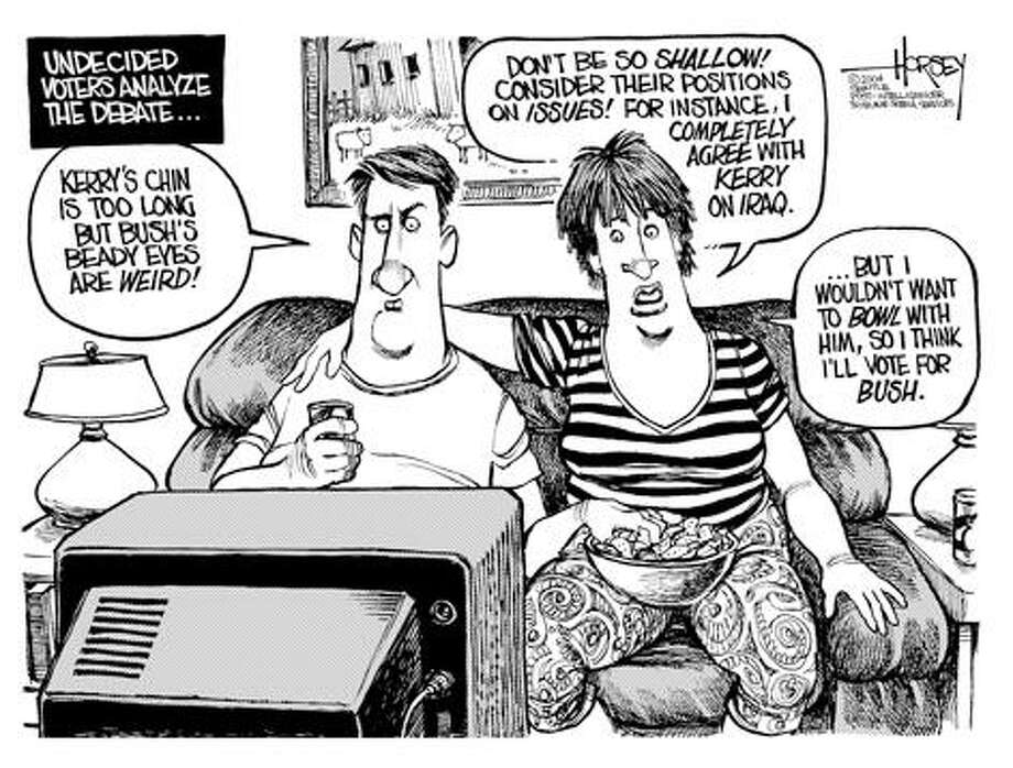 Undecided voters analyze the debate... - Originally published on October 1, 2004 Photo: David Horsey, Seattlepi.com
