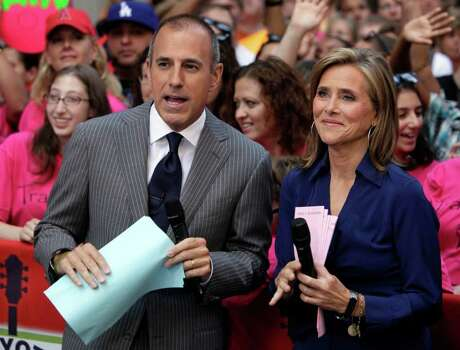 "FILE - In this Aug. 6, 2010 file photo, Matt Lauer and Meredith Vieira, co-hosts of the NBC ""Today"" television program, are shown during a broadcast in New York. Photo: AP"