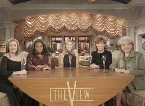 "The cast of ABC's ""The View"" Meredith Vieira, left,  Star Jones, Elizabeth Hassselbeck, center,  Joy Behar, Barbara Walters, right, are shown in this photo released from ABC, Monday Nov. 24, 2003.  Hasselbeck, who made it to the finale on Survivor: The Australian Outback, was chosen to fill the empty co-host chair on the daytime show, after a three-month search for a replacement for Lisa Ling, the youngest member of the ABC talk shows panel who left last year. Photo: STEVE FENN, AP / ABC, INC."
