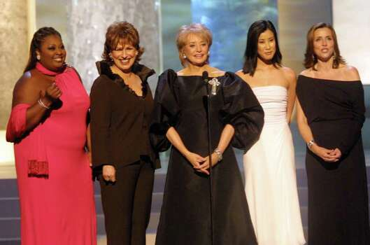 "** FILE ** The cast of the television show ""The View"" is seen at the 2001 Daytime Emmy Awards at New York's Radio City Music Hall, May 18,  2001. From left to right they are, Star Jones, Joy Behar, Barbara Walters, Lisa Ling, and Meredith Vieira. ""The View"" was nominated for a Daytime Emmy, in the categories of talk show and talk show host which was only fitting, since this ABC chat show aired the announcements live Wednesday, March 12, 2003.  The awards will be given out on May 16. Photo: STUART RAMSON, AP / AP"