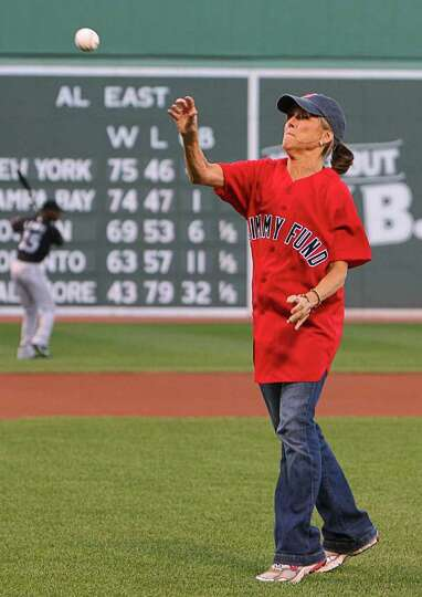 BOSTON - AUGUST 20: Meredith Viera helps the Jimmy Fund strike out cancer at Fenway Park. Today Show