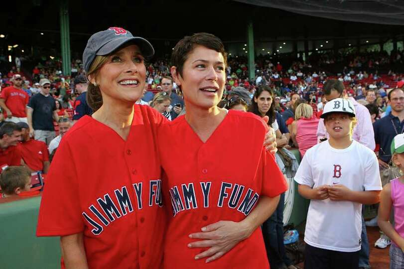 BOSTON - AUGUST 20: Meredith Viera and Maura Tierney help the Jimmy Fund strike out cancer at Fenway