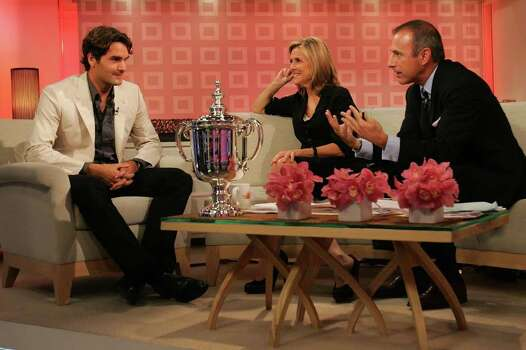 "NEW YORK - SEPTEMBER 10:  Roger Federer, 2007 US Open Champion, chats with hosts  Meredith Vieira, and Matt Lauer on NBC's ""Today"" show on September 10, 2007 in New York City.  (Photo by Chris Trotman/Getty Images For ATP) *** Local Caption *** Roger Federer;Matt Lauer;Meredith Vieira Photo: Chris Trotman, Getty Images For ATP / 2007 Getty Images"