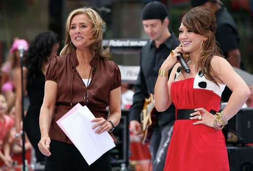 "NEW YORK - JUNE 29:  Singer/actress Hilary Duff appears onstage with host Meredith Vieira during the NBC ""Today Show"" concert series at Rockefeller Center on June 29, 2007 in New York City.  (Photo by Scott Gries/Getty Images) *** Local Caption *** Hilary Duff;Meredith Vieira Photo: Scott Gries, Getty Images / 2007 Getty Images"