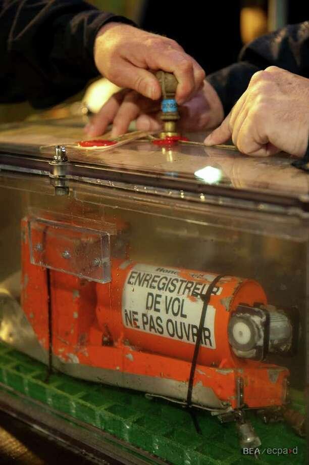 Searchers recover the cockpit voice recorder from Air France Flight 447. Photo: Bureau D'Enquêtes Et D'Analyses