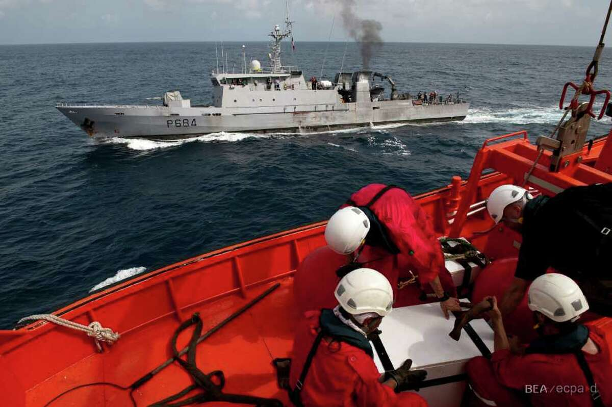 The French Navy patrol boat La Capricieuse arrives on May 7, 2011 at the site of the wreckage of Air France Flight 447 to receive the aircraft's flight recorders.