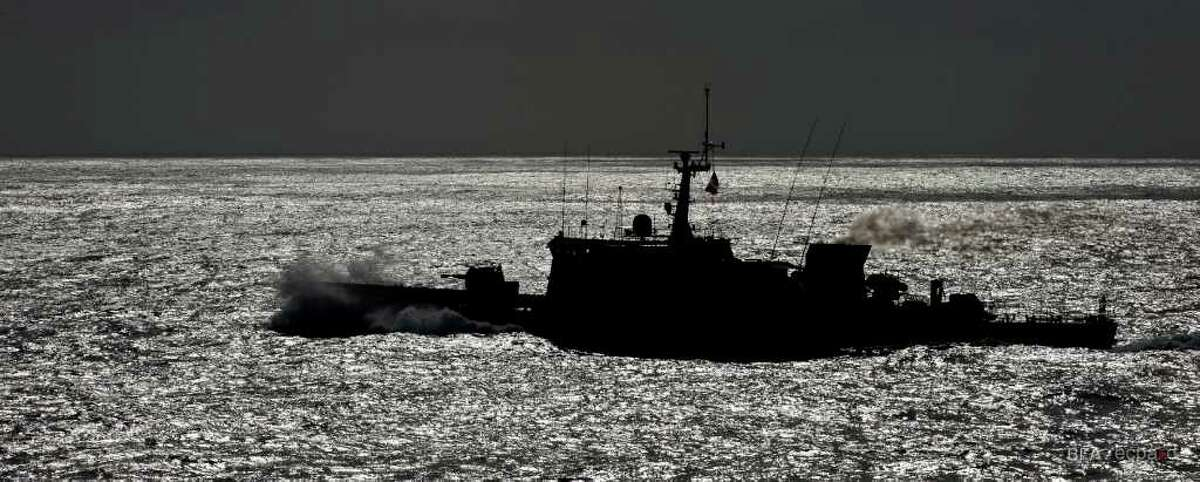The French Navy patrol boat La Capricieuse leaves the site of the wreckage of Air France Flight 447 on May 7, 2011 after receiving the aircraft's flight recorders.