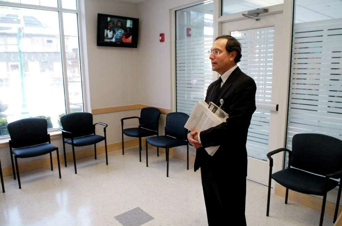Eric Stein, administrator at Optimus Health Care in the waiting room of a yet-to-be opened new health clinic on the West Side of Stamford, Conn.on Monday May 9, 2011. The clinic represents a partnership between the housing authority and Stamford Hospital/Optimus Health Care.