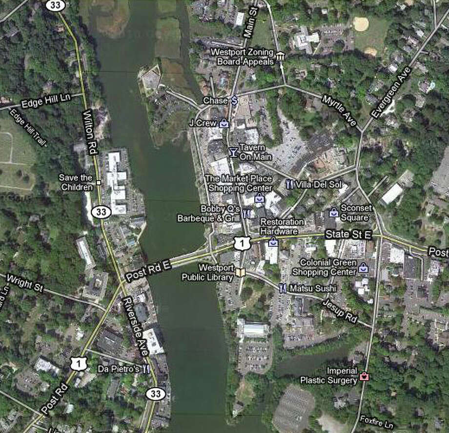 The Planning and Zoning Commission will hold a public meeting at Town Hall on Thursday, May 12 to explore a range of downtown revitalization initiatives. Westport's town center is seen here from a Google satellite map. Photo: Contributed Photo / Westport News contributed