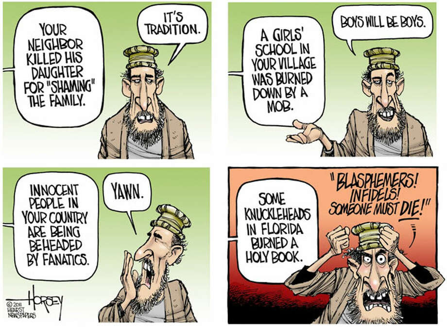 A curious scale of outrage in Afghanistan - Originally published on April 4, 2011 Photo: David Horsey, Seattlepi.com