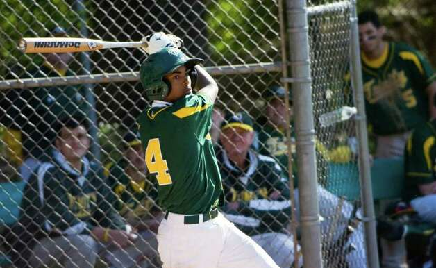 Trinity's Nino Merritt at bat as Trinity Catholic hosts Norwalk High School in a baseball game in Stamford, Conn., May 9, 2011. Norwalk won the game 17-1. Photo: Keelin Daly / Stamford Advocate