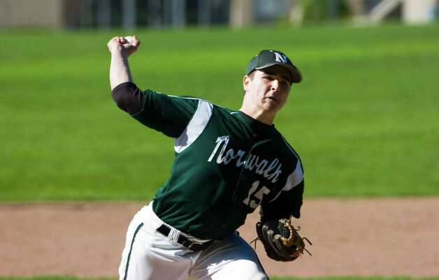 Norwalk's Spencer Jacobi throws as Trinity Catholic hosts Norwalk High School in a baseball game in Stamford, Conn., May 9, 2011. Norwalk won the game 17-1. Photo: Keelin Daly / Stamford Advocate