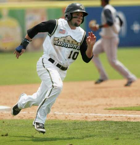 The Missions' Jaff Decker rounds third base on his way to score at home during a game against the Corpus Christi Hooks on Monday, May 9, 2011, in San Antonio. San Antonio won 5-2. Photo: Darren Abate/Special To The Express-News