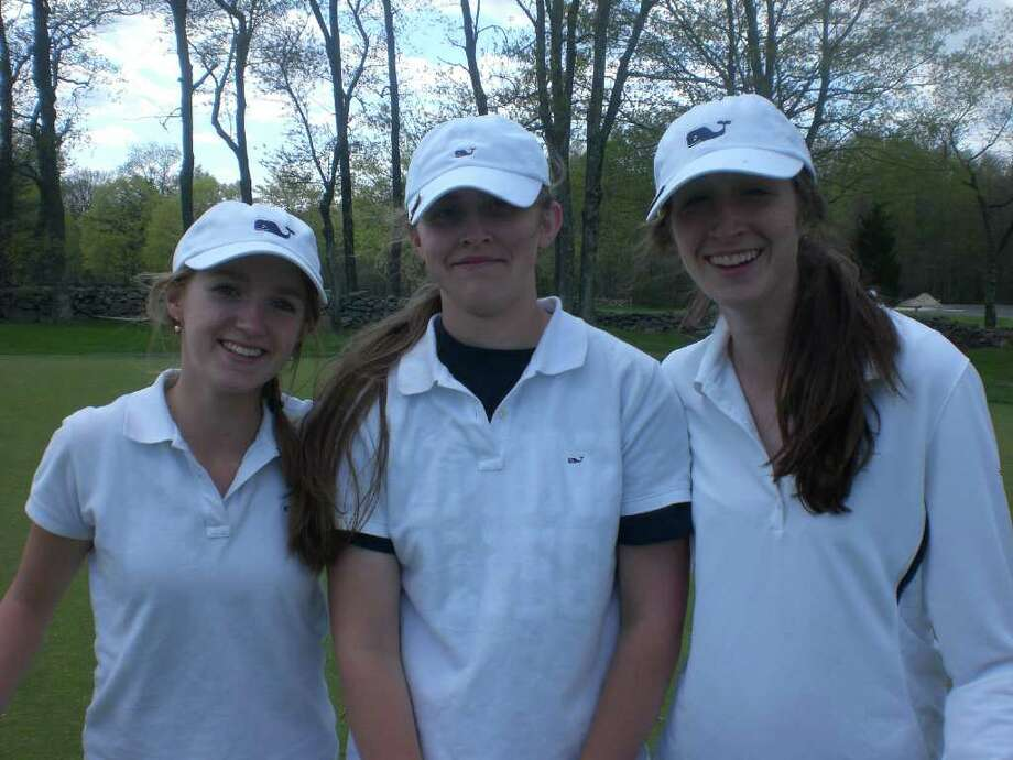 From left, Staples junior tri-captains Eliza Duvall, Sarah Ressler and Kim Hynes have led the Lady Wreckers to a 6-3 record through nine matches. Photo: Contributed Photo