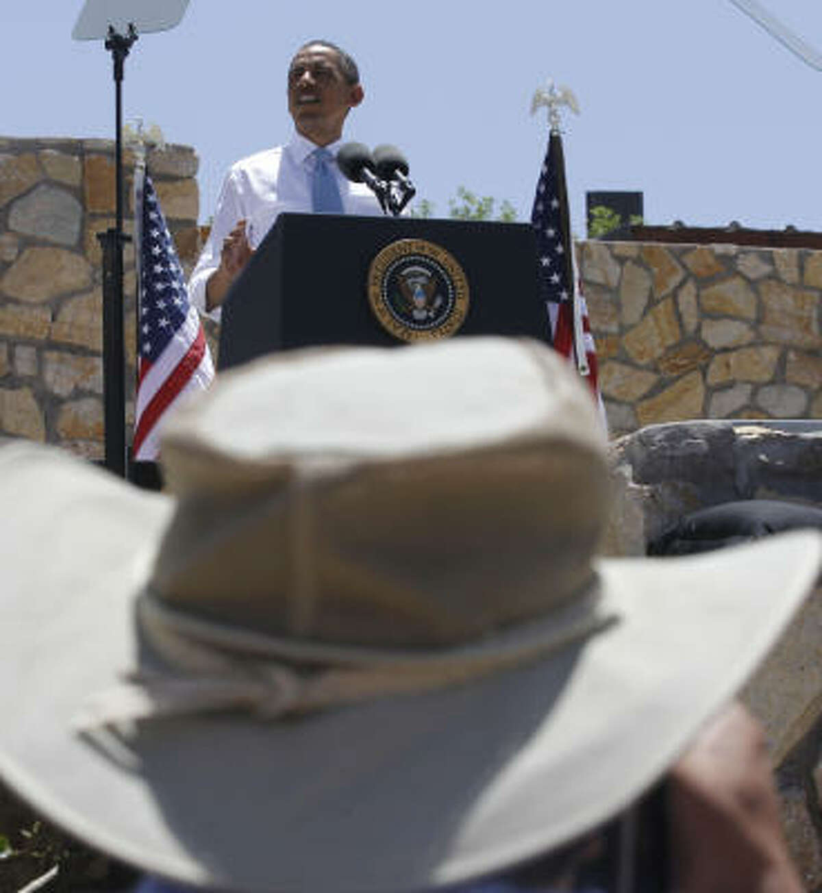 President Obama speaks about immigration reform at Chamizal National Memorial Park in El Paso.